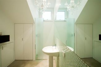 custom bathroom and laundry white and glass