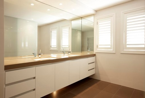 custom bathroom cabinet double sinks white and stone