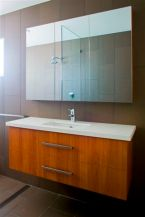 custom bathroom cabinet timber and white