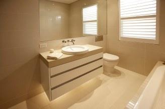 custom bathroom cabinet - white and stone