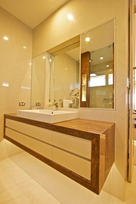 custom bathroom cabinet white and timber floating