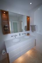 custom bathroom cabinet white and timber