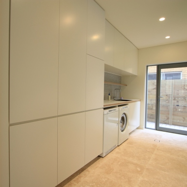 custom joinery white laundry