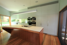 custom kitchen angled island bench
