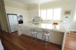 custom kitchen white and stone