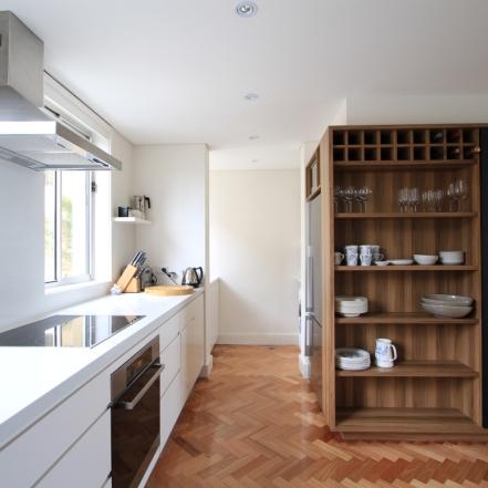 custom kitchen white and timber shelves
