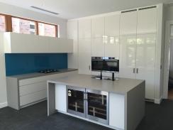 custom kitchen white grey blue