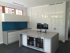custom kitchen white grey blue