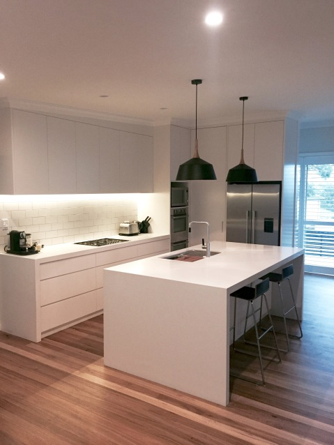 custom kitchen white subway tiles